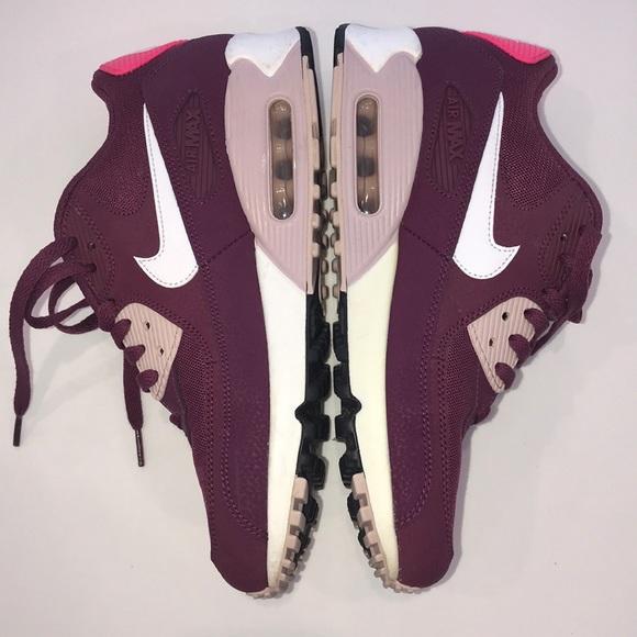 Nike WMNS Air Max 90 Burgundy Power Pink •